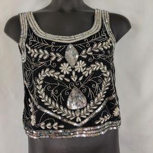 Vintage Miss Selfridge crop top handcrafted beads